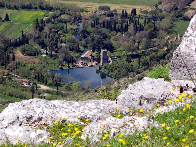View of Ninfa Gardens from Norba