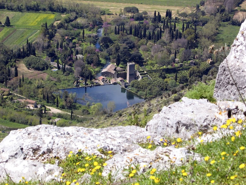Gardens of Ninfa viewed from Norba